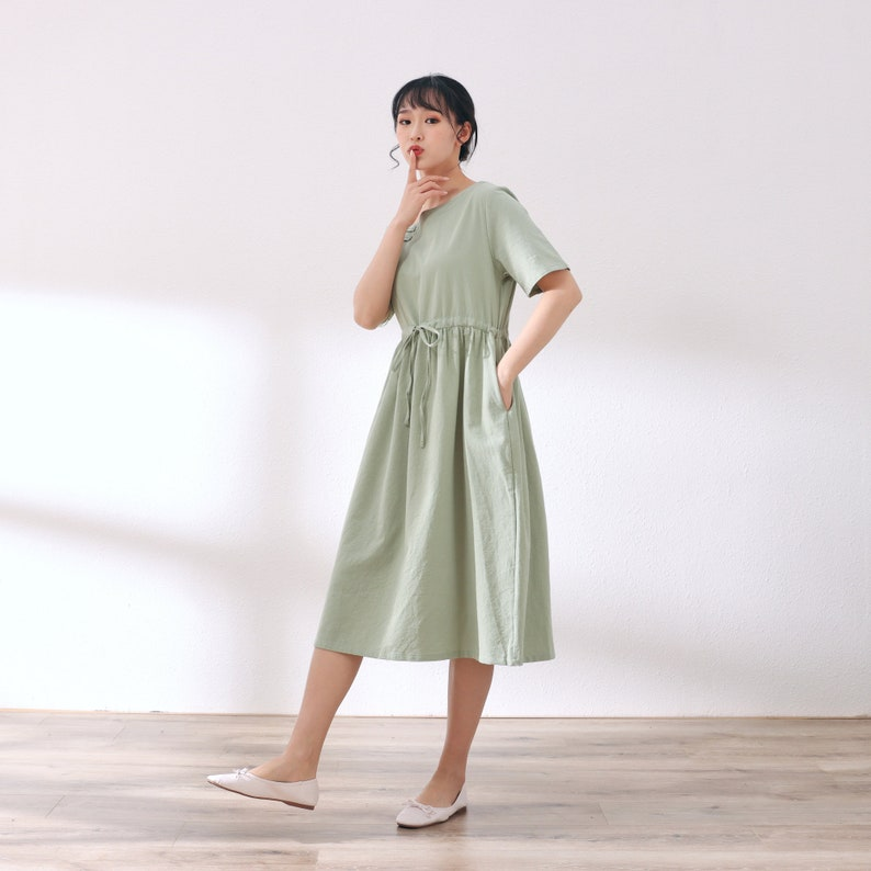 New Design Short Sleeves Cotton Dress Soft Long Robes Casual Loose Summer Midi Dresses Customized Plus Size Clothing Linen