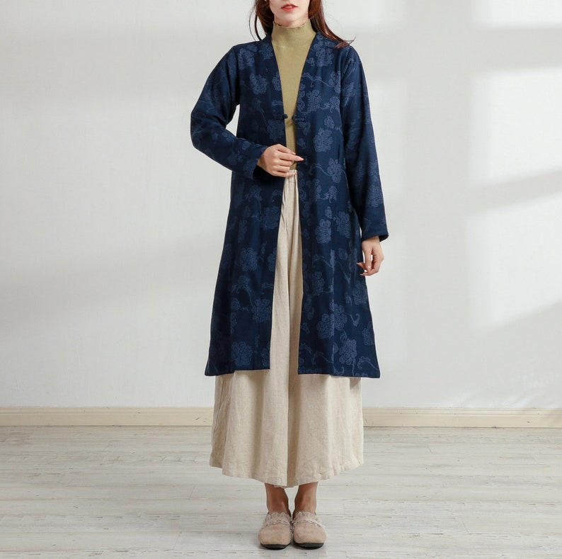 Vintage Coats & Jackets | Retro Coats and Jackets New Design Thick Jacquard Cotton Cardigan Coat Long Sleeves Shirt Casaul Loose Midi Dresses Coat Customized Plus Size Clothing Duster Linen $79.38 AT vintagedancer.com
