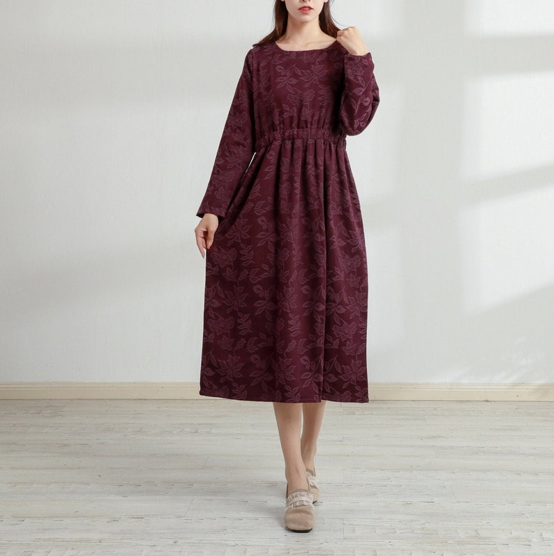 Cottagecore Dresses Aesthetic, Granny, Vintage New Design Thick Jacquard Soft Cotton Dress Long Sleeves Robes Casaul Loose Midi Dresses Winter Customized Plus Size Spring Fall Dress Linen $83.61 AT vintagedancer.com