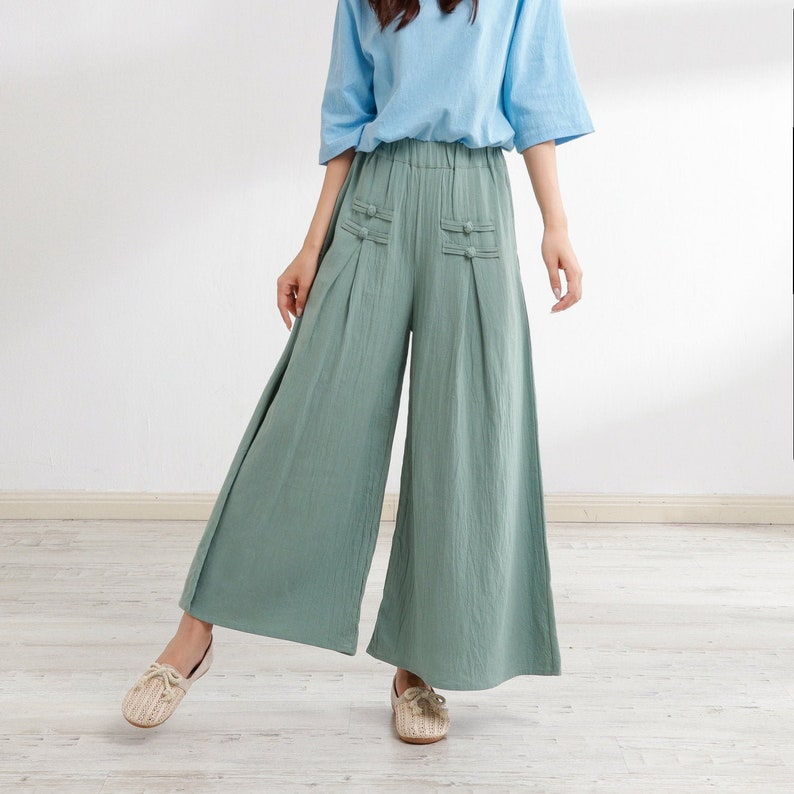 1920s Style Women's Pants, Trousers, Knickers, Tuxedo New Design Elastic Waist Cotton Pants Casual Loose Large Size Trousers Oversized Wide Leg Skirt Pant Customized Plus Size Pants Linen Boho $52.44 AT vintagedancer.com