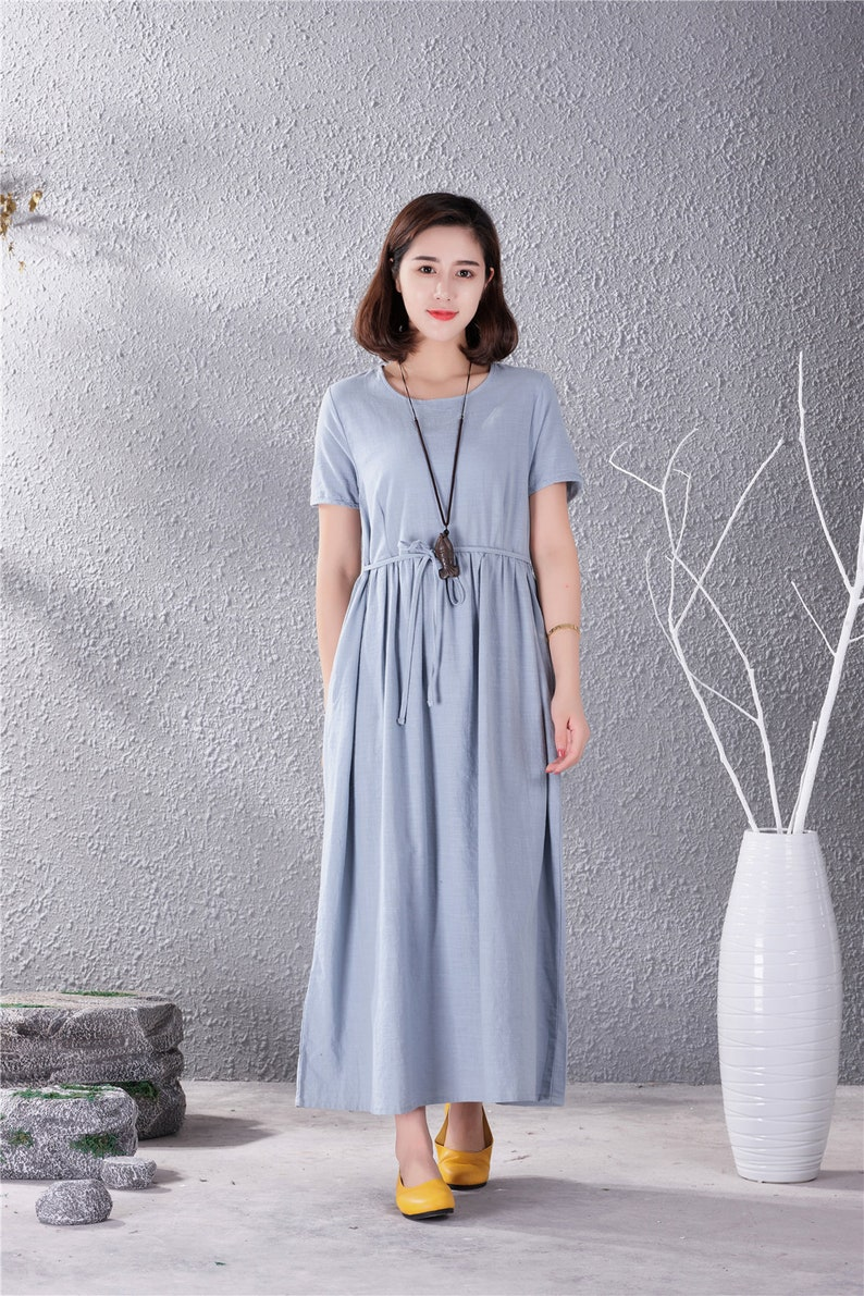 Clearance Short Sleeves Cotton Dress Casual Loose Fitting Tunics Summer Maxi Dresses Oversized Dress Plus Size Clothing Linen