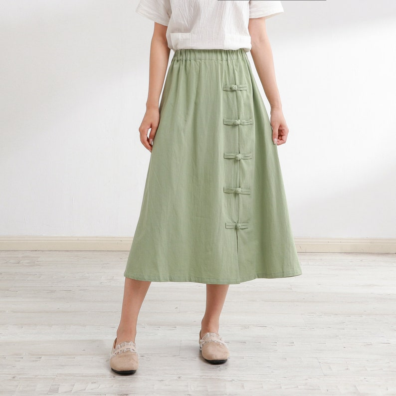 Cottagecore Clothing, Soft Aesthetic New Design Summer Cotton Skirts A-line Pleated Elastic Waist Skirt Flared Midi Skirts Customized Plus Size Skirt Boho Linen $51.88 AT vintagedancer.com