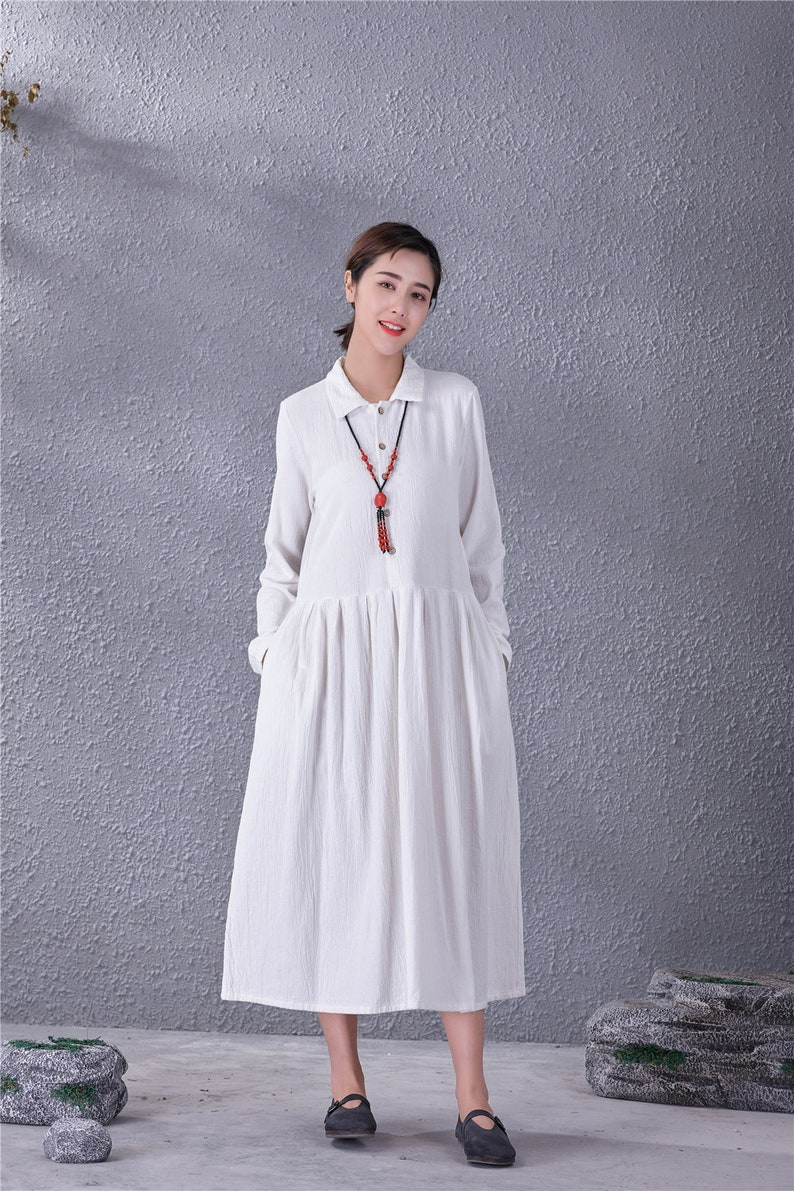 Old Fashioned Dresses | Old Dress Styles Women Long Soft Cotton Linen Dress with Pockets Long Sleeves Casaul Loose Maxi Dresses for Spring Fall Customized Plus Size Clothing Linen $61.16 AT vintagedancer.com