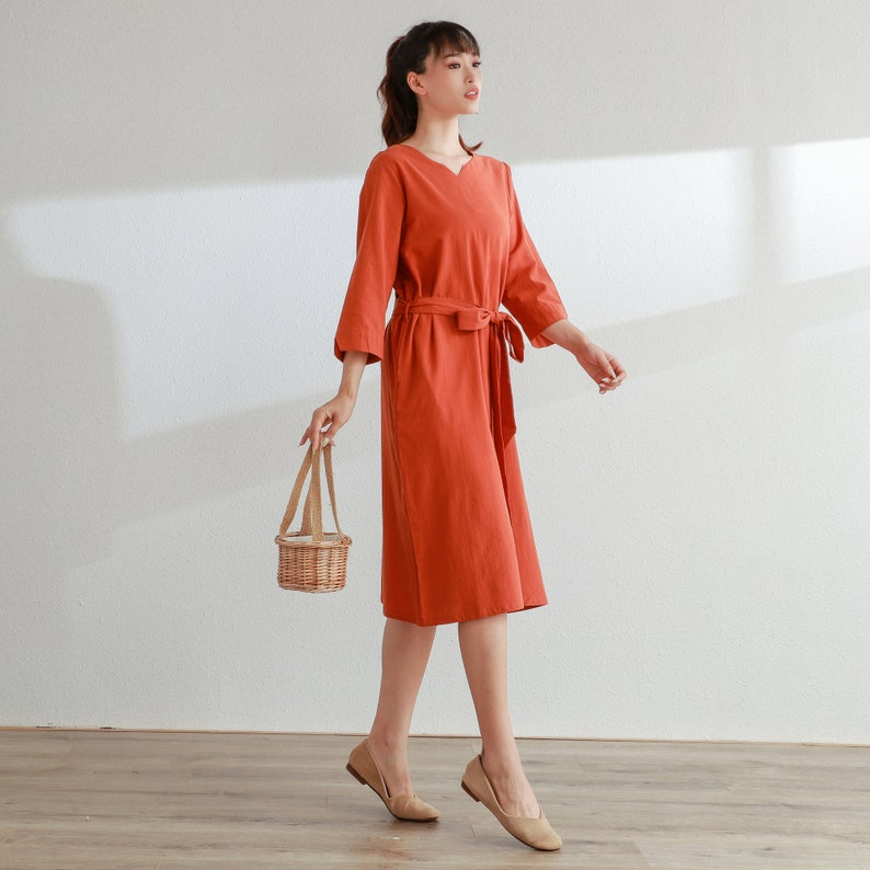 New Design Half Sleeves Cotton Dress Soft Long Robes Casual Loose Summer Midi Dresses Customized Plus Size Clothing Linen