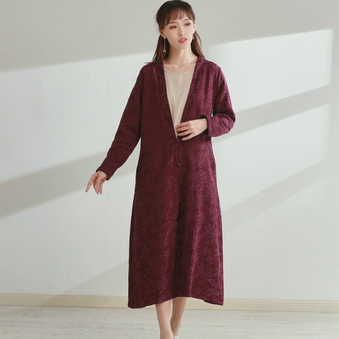 1920s Coats, Furs, Jackets and Capes History New Design Thick Jacquard Cotton Cardigan Coat Long Sleeves Shirt Casaul Loose Midi Dresses Coat Customized Plus Size Clothing Duster Linen $79.38 AT vintagedancer.com