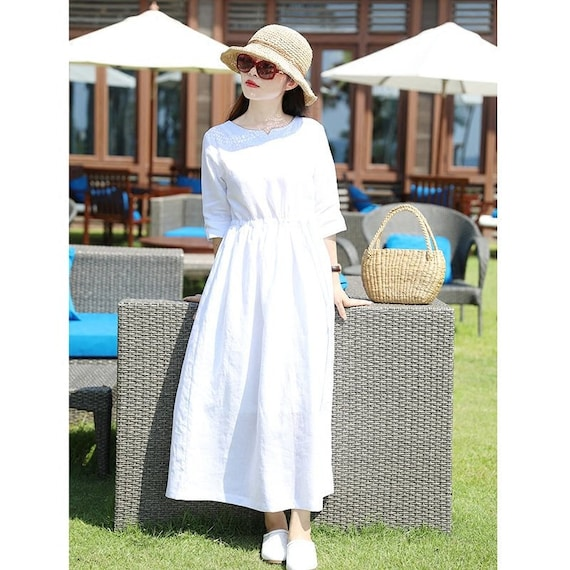 Half Sleeves Soft Long Cotton Dress with Pockets Casaul Loose Tunics Summer  Maxi Dresses Customized Plus Size Clothing Linen