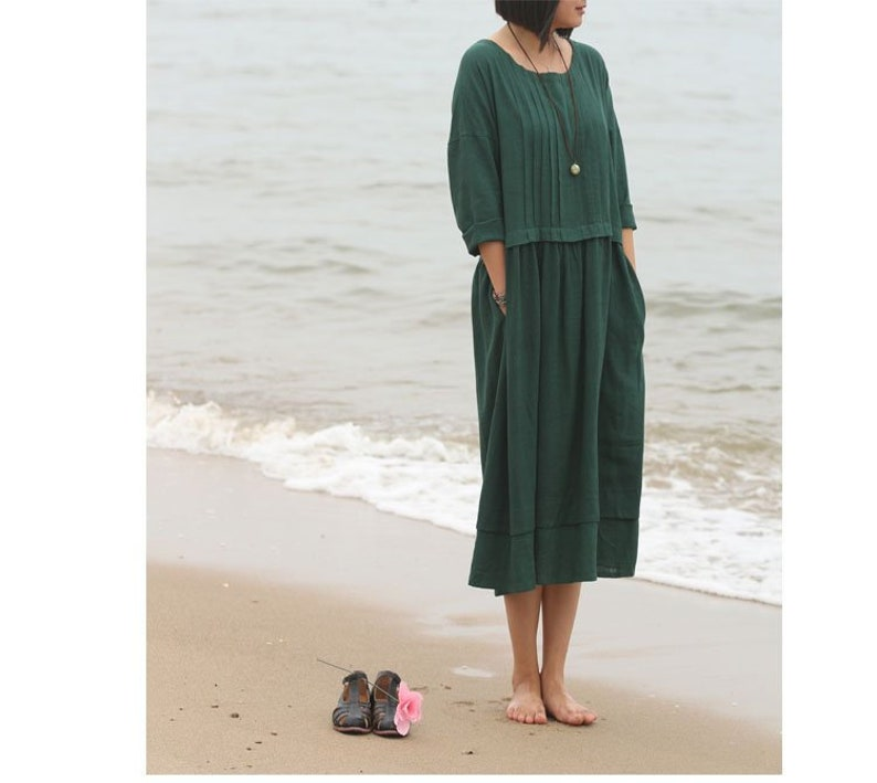 1920s Day Dresses, Tea Dresses, Mature Dresses with Sleeves Long Soft Cotton Dress with Pockets Long Sleeves Caftan Casaul Loose Midi Dresses for Spring Fall Customized Plus Size Clothing Linen A-361 $61.22 AT vintagedancer.com
