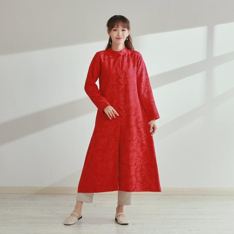 New Design Thick Jacquard Cotton Cardigan Coat Long Sleeves Shirt Casual Loose Midi Dresses Coat Customized Plus Size Clothing Duster Linen