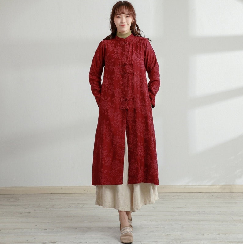 Cottagecore Clothing, Soft Aesthetic New Design Thick Jacquard Cotton Cardigan Coat Long Sleeves Shirt Casaul Loose Midi Dresses Coat Customized Plus Size Clothing Duster Linen $79.38 AT vintagedancer.com