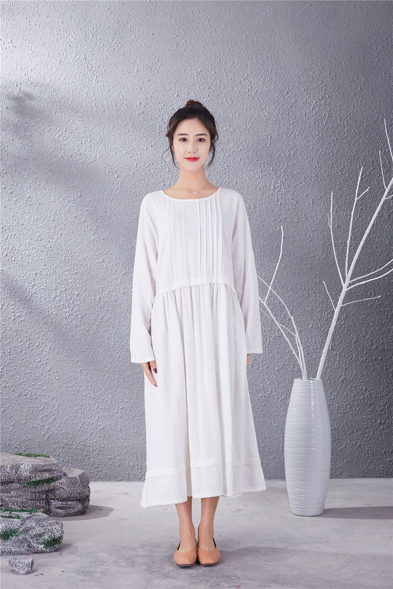 1920s Wedding Dresses- Art Deco Wedding Dress, Gatsby Wedding Dress New Design Long Sleeves Dress Cotton Dresses Long Tunics Caftan Casual Loose Maxi Dress Spring Fall Customized Plus Size Clothes Linen $60.11 AT vintagedancer.com