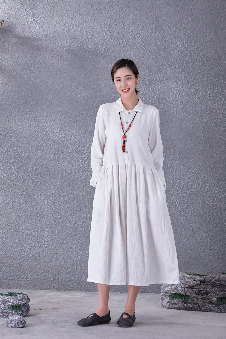 Clearance Women Long Soft Cotton Linen Dress with Pockets Long Sleeves Casual Loose Maxi Dresses for Spring Fall Plus Size Clothing Linen