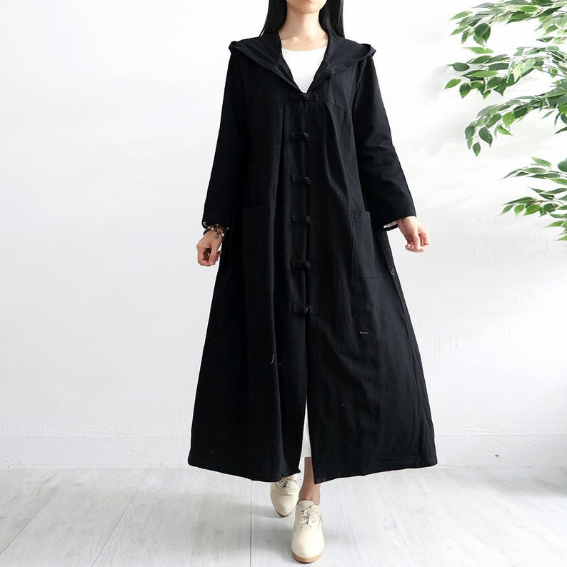 Vintage Coats & Jackets | Retro Coats and Jackets Long Soft Cotton Dress Hooded Robes Long Sleeves Casaul Loose Hooded Maxi Dresses for Spring Fall Customized Plus Size Coat Linen Duster $64.11 AT vintagedancer.com
