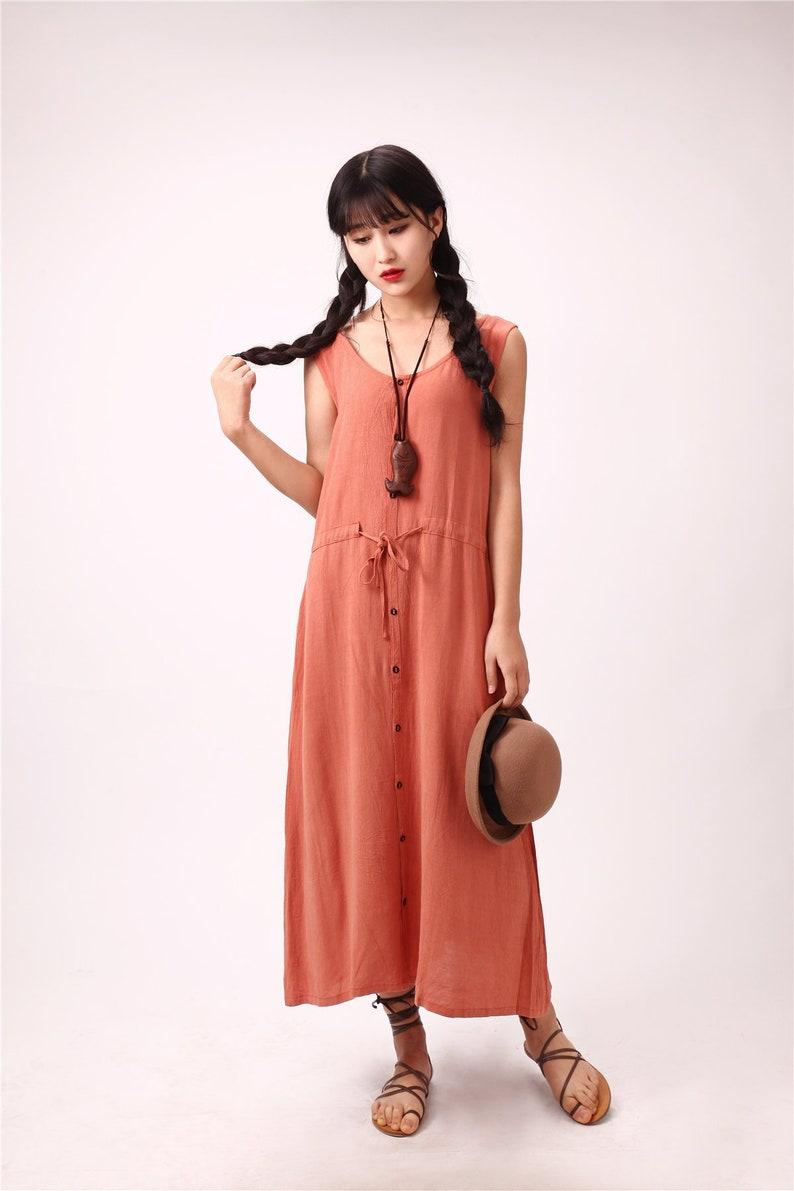 54250ab8c47 Women Summer Maxi Dresses Soft Long Cotton Linen Dress Button