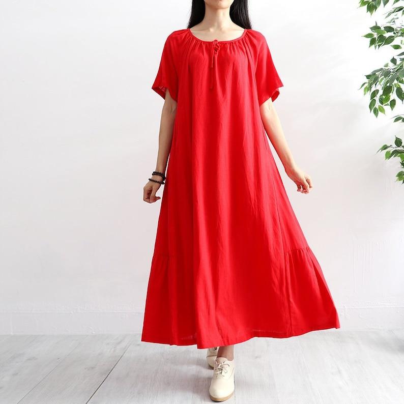 Summer Short Sleeves Dress Soft Long A-line Cotton Caftan Casaul Loose Tunics Maxi Dresses Customized Oversized Dress Plus Size Clothing