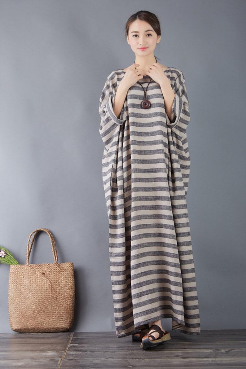 Clearance Dress Final Sale Summer Stripes Cotton Dress Caftan Shift Dress  Long Oversized Robes Casaul Loose Maxi Dresses Plus Size Dress