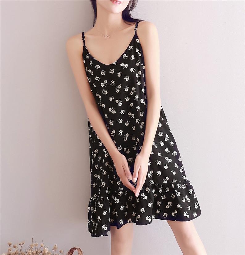 Clearance Dress Final Sale  Soft Chiffon Floral Strap Dress Summer Sleeveless Dress Linen