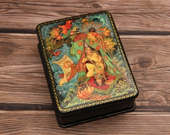 Snow Maiden Handmade Papier Mache Jewelry BoxChristmas in July Kholui Art Painting School Hand Painted Russian Lacquer Box