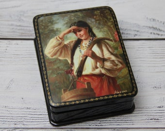 Fedoskino Russian Lacquer Box#Title Princess Frog# Jewelry Casket# Box Soviet# Room Decor# Trinket Box#Gift for Her#Hand Painted in Russia#