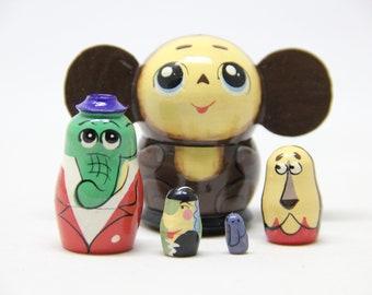 Cheburashka Nesting Doll 1.85'' 4.7 cm, Hand Painted Matryoshka Doll 5pieces, Funny Gifts, Kids Room Decor, Kids Gift, Wood toys for Kids