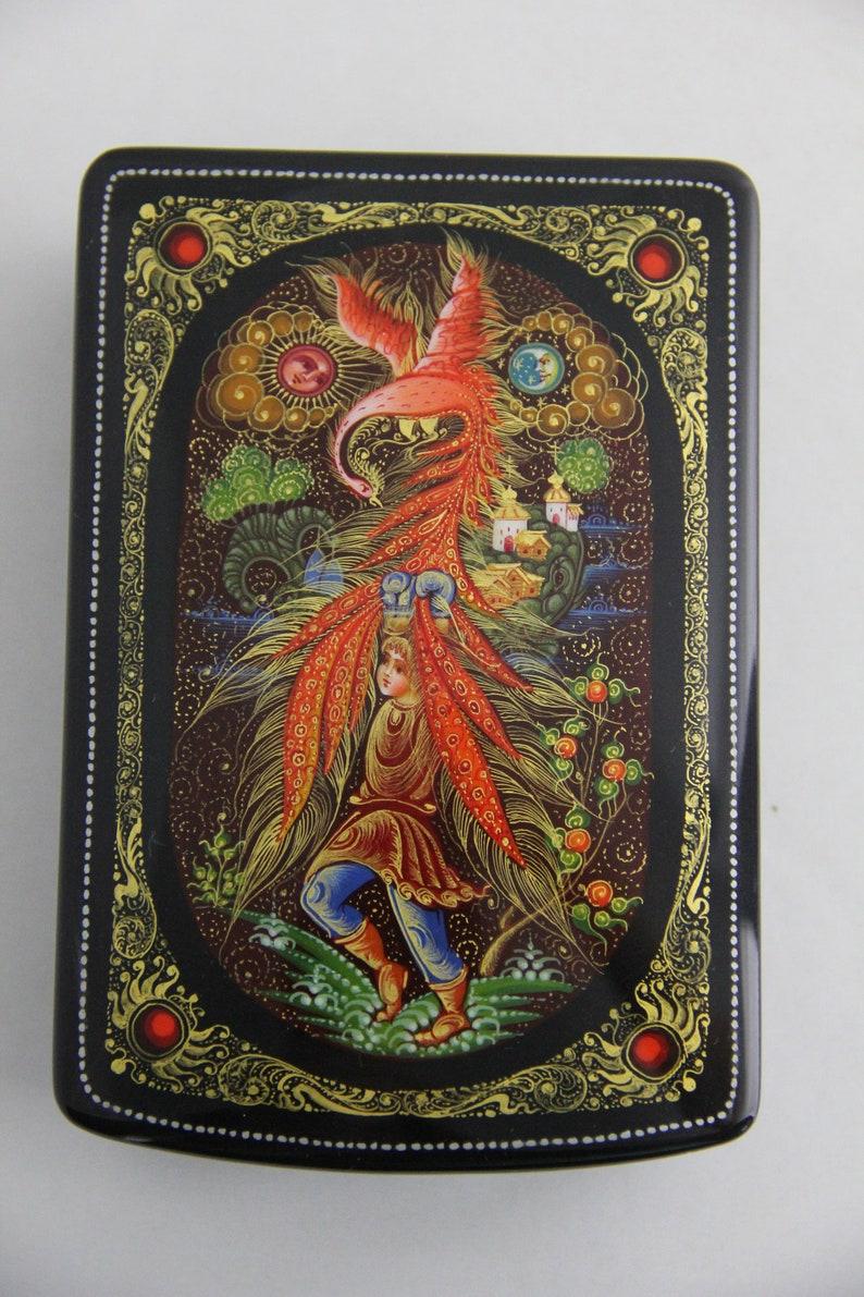 Russian Lacquer Miniature Box Kholuy Art Painting School Fire Bird Hand Painted Jewelry Box Papier Mache Handmade