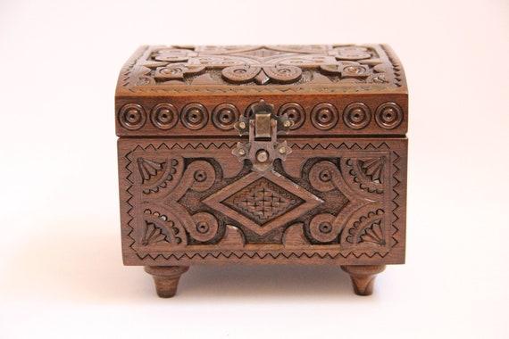 Hand Carved Ukrainian Wooden Jewelry Box Handmade Hand Crafted Walnut Wood Jewelry Box Ecological Wood Jewelry Box Wedding Gift Home Decor
