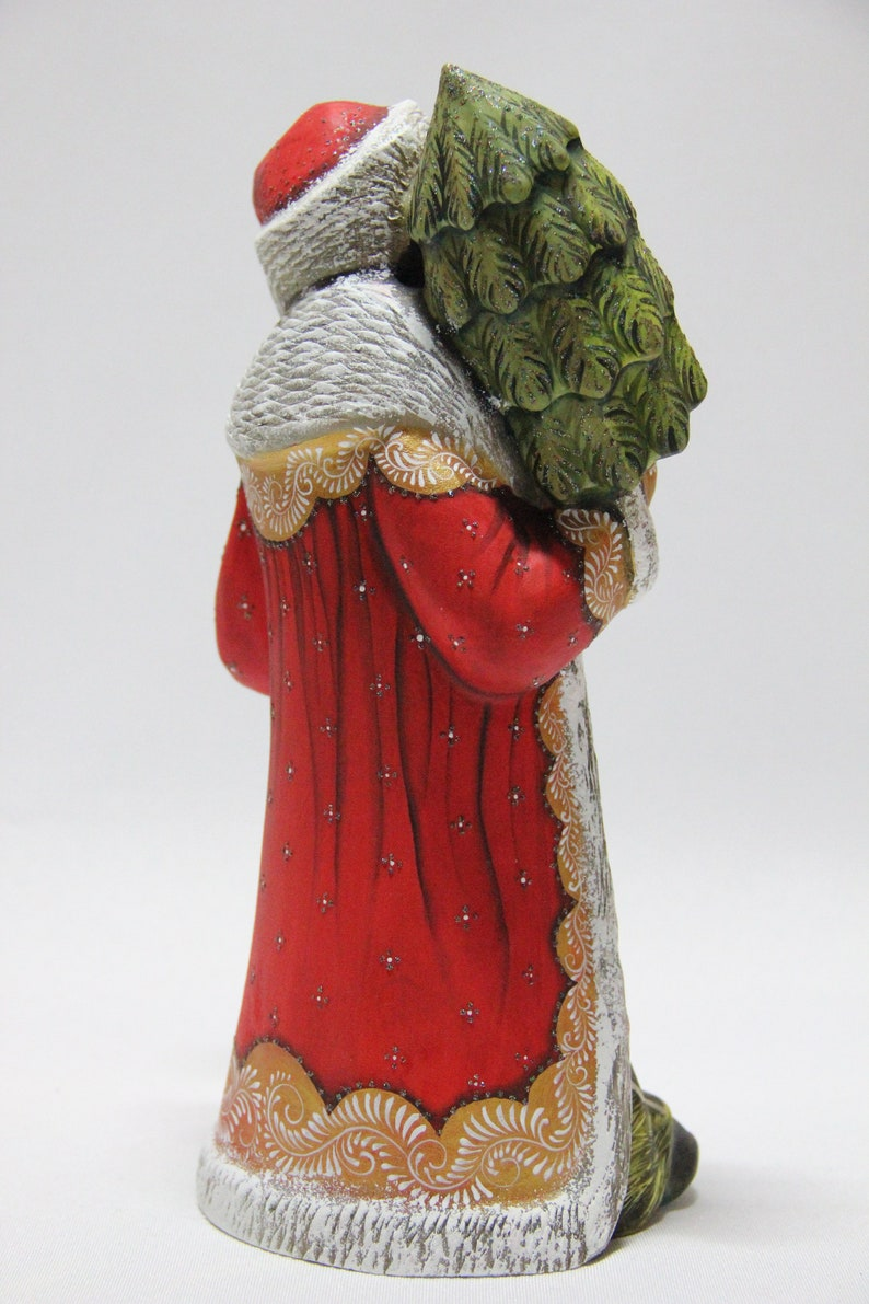 Hand Carved Hand Painted Christmas Gift Russian Carved Santa 9.44 Home Decor Gift for Her Father Frost Wooden Santa Christmas Gift