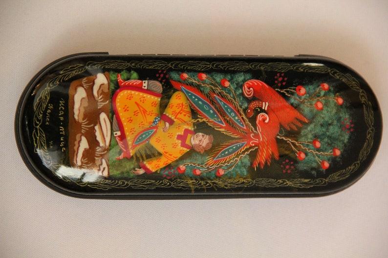 Hand Painted Eyeglass Case Russian Lacquer Box Handmade Fairy Tale Fire Bird Palekh Art Painting School Papier Mache Jewelry Box