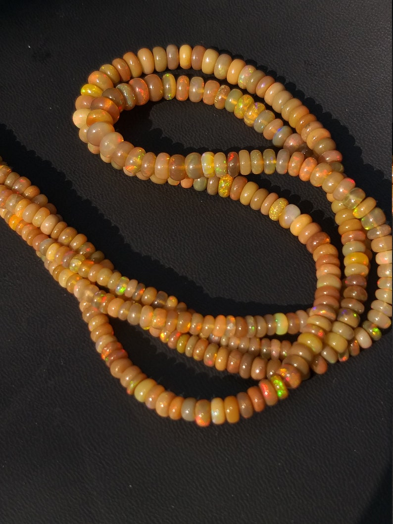 Natural Ethiopian Opal Welo Opal Fire Beads AAA Quality Multy color  Amazing  Beads  Strand 16 Inch 6.5X3.5 MM Opal beads  Gemstone