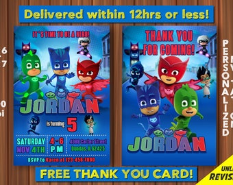 PJ Masks Invitations With FREE Thank You Card Birthday Party Invitation Printable