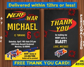 Nerf Party Invitation With FREE Thank You Card Birthday Digital File