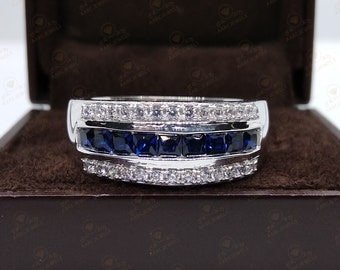 Stainless Steel Gold Color Plated Sandblasted Channel-Set Eternity Comfort Fit Band Ring with Blue Sapphire CZ