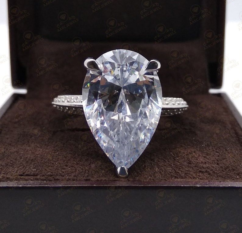 Cocktail Party Ring Huge 12 Ct Large Pear Cut Solitaire Engagement Cocktail Ring 925 Sterling Silver Luxury Ring Celebrity Inspired