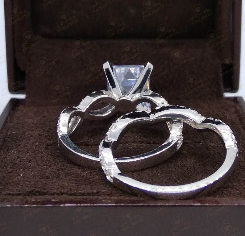 2.80 Ct Brilliant Emerald Cut CZ Diamond Engagement Ring Set Twisted Bridal Ring Emerald Solitaire Ring Wedding Band Set Promise Ring Set