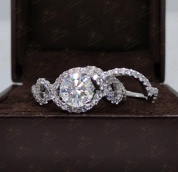 Dazzling Wedding Ring Set 2 24 Ct Round Cut Cz Diamond Etsy
