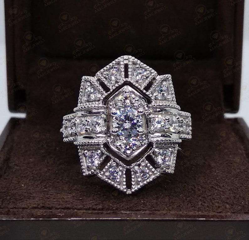 2.43 Cts Antique Art Deco Style Round Cut Cz Diamond Vintage Engagement Ring Vintage Style Ring Antique Style Ring Vintage Reproduction Ring