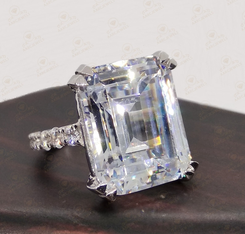 Cocktail Ring Large Solitaire Ring Emerald Cut Solitaire Ring Wedding Ring For Womens 8.50 Ct Emerald Cut Cz Diamond Engagement Ring
