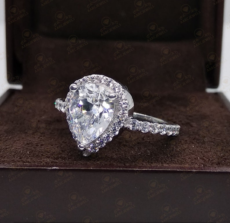 2.25 Ct Pear Shaped Halo Cz Diamond Anniversary Engagement Ring 925 Sterling Silver Promise Ring Fancy Ring Wedding Ring