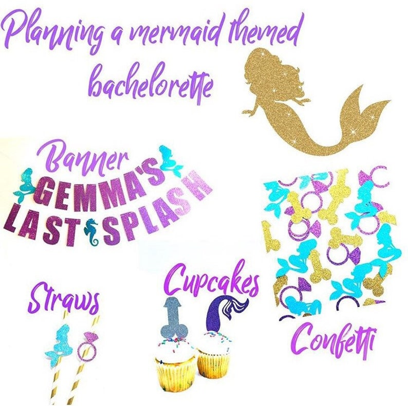 Last Splash Bachelorette Straws  Mermaid Bachelorette Party mermaid Straws  Beach Bachelorette Straws  Penis straws  penis confetti