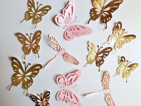 3d Paper Butterfly Wall Decoration Pink Gold Nursery Decor Etsy