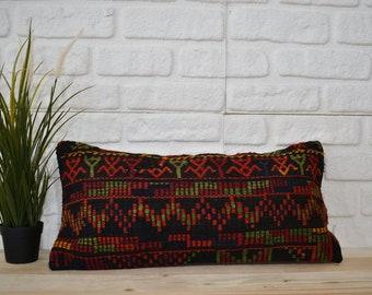 coastal kilim pillow  boho decor pillow  decorative pillow  tribal pillow  throw pillow  aztec pillow  12x24  pillow cover  code 3423