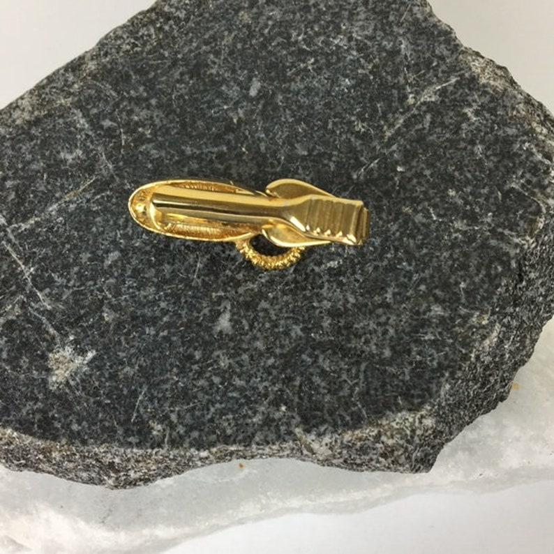 Vintage Gold Tone Rotary Phone Tie Bar Clip