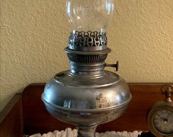 Antique Oil Lamp - Antique Rayo Lantern - Nickel Plated Hurricane Lantern