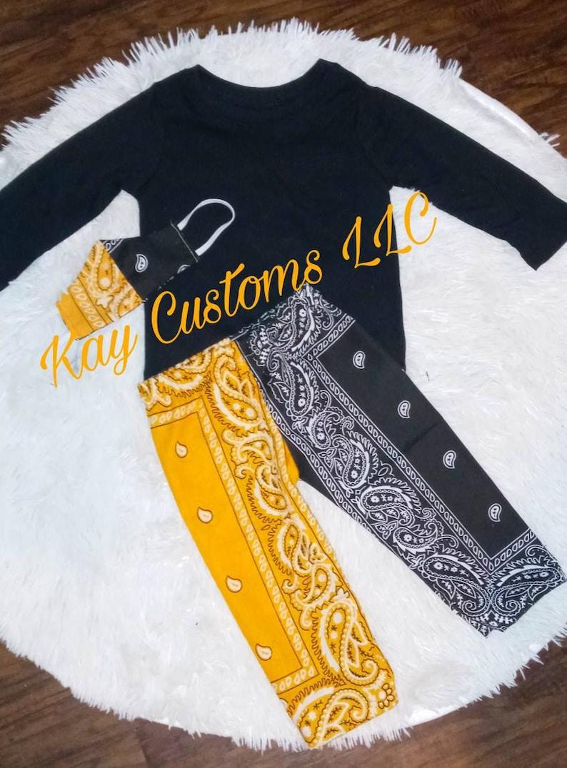 bows Shirt /& Skirt sock Bandanna Skirt  Set yellow and Black with accessories Siblings Sets Match Mask