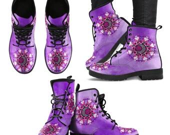 e8a67a59f9a Sun Flower Mandala, Tie Dye Purple, Women's Boots, Vegan Leather, Combat  Style Boots, Hippie Festival, Gypsy Wild child, Flower Child