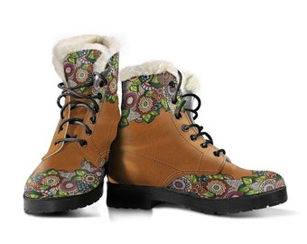Handmade Boots Leather Boots Women Spiritual Bright Colorful Floral Women/'s Boots Hippie Vegan Leather All Season Boots Streetwear