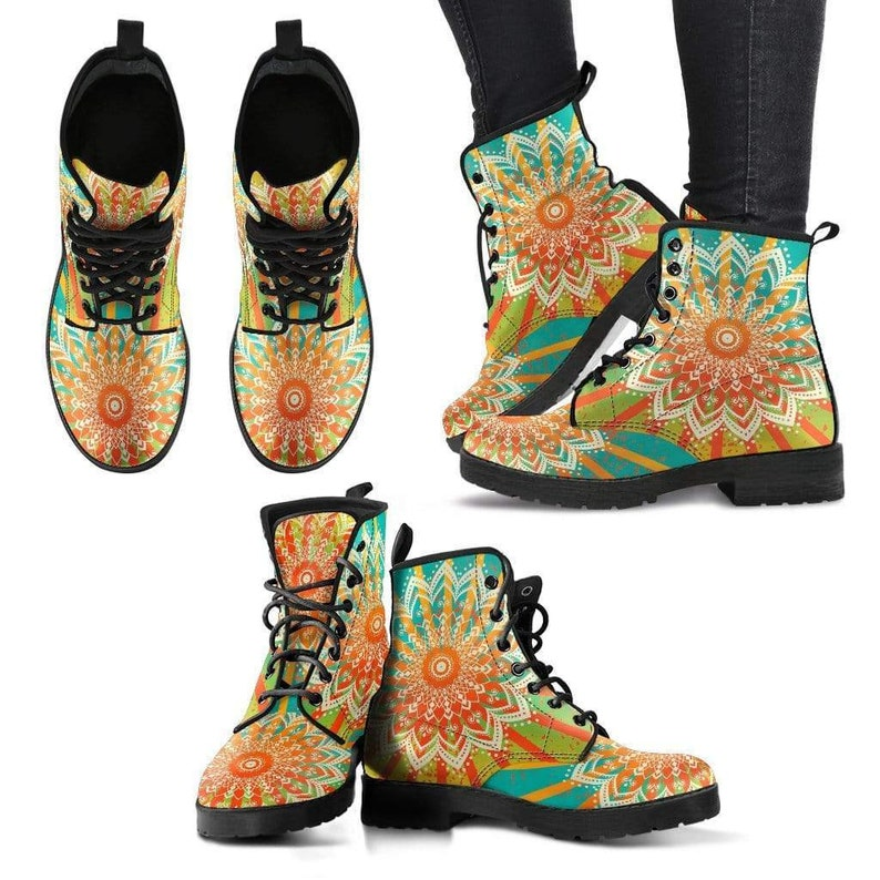 Custom Leather Boots Handmade Crafted Vegan Leather Multi Colored Leather Boots Women Bright Colorful Colorful Mandala