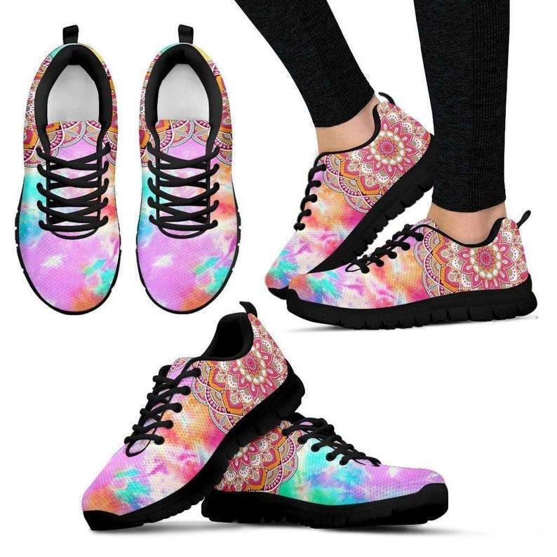 Runners Handmade Crafted Bright Colorful Colorful Mandala Trainers Women/'s Sneakers Streetwear Custom Shoes Canvas Shoes