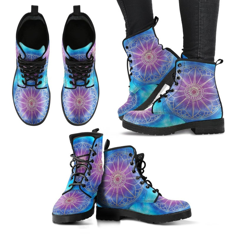 Pattern Abstract Hippie Gyspy Fairy Purple Mandala Women/'s Boots Combat Style Boots Vegan Leather Flower Circle Chakra Zen Yoga