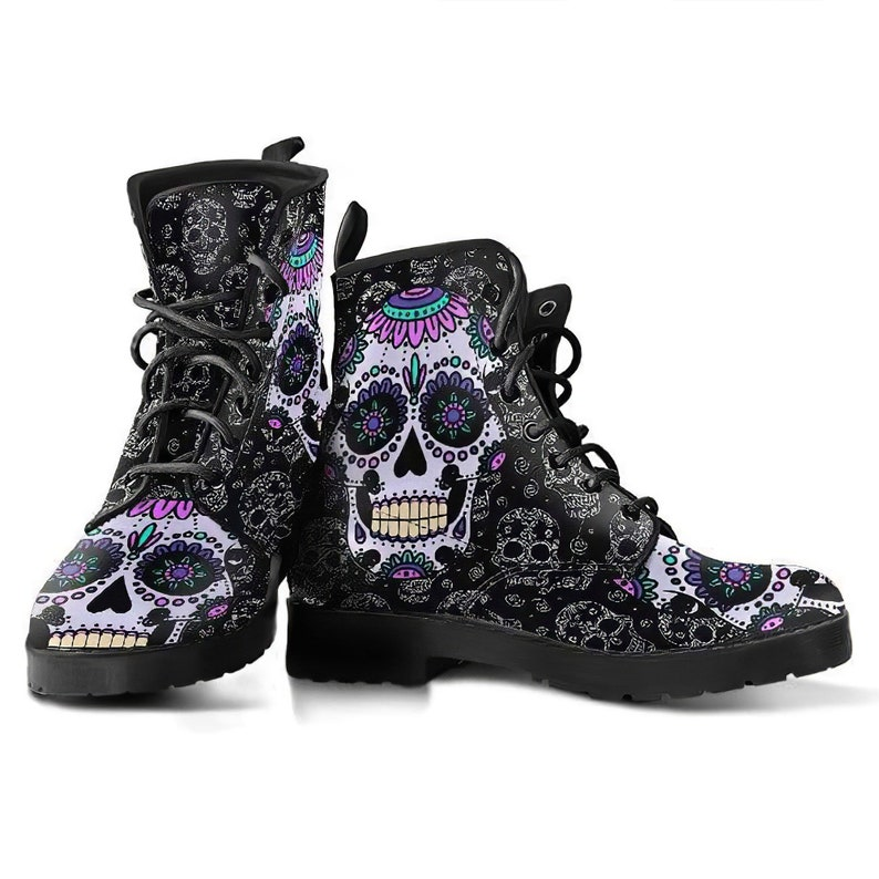 Sugar Skull Design Womens Leather Boots skull boots image 0