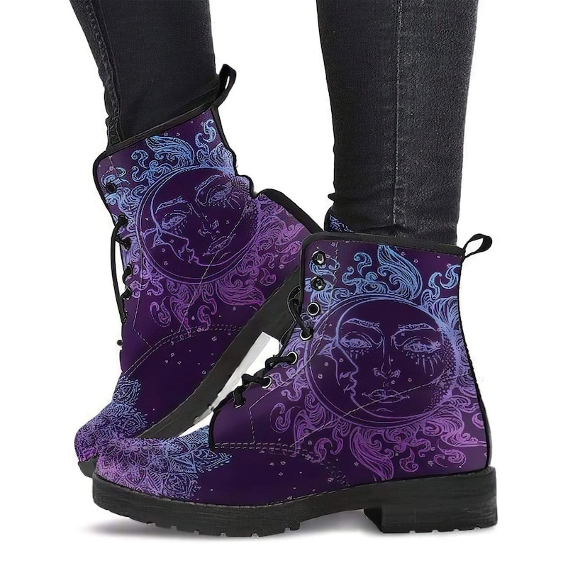 Vegan Leather Womens Leather Boots Streetwear Purple Sun and Moon Custom Leather Boots Handcrafted Boots Purple Lotus Mandala